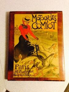 "Vintage Wooden Motocycles Comiot Paris Sign. Measures 12"" x 9"""