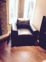 Leather couch set + coffee tables