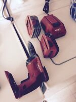 Drywall Hilti cordless screw gun two batteries and charger