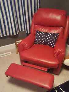 Red, faux leather power recliner