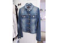Denim jacket with silver studs ladies - size 8 - Brand New - punk fashion rock chick