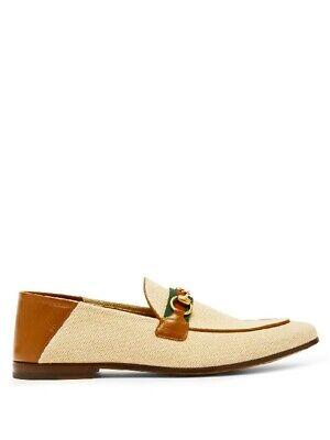 GUCCI Men's Canvas & Leather Charlotte Vintage Horsebit Beige Sand Loafers 8.5