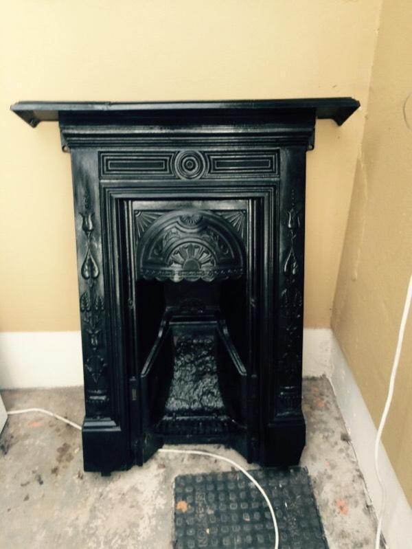 Refurbished Antique Black Cast Iron Fireplace In Fintona