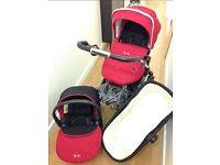 Unisex Chilli Red Silver Cross Pioneer With Car Seat