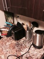 Knife set, toaster, cooking utensils, electric kettle