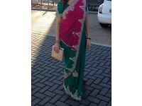 WORN ONCE pink green sari size 8 - 10