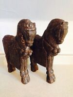 """Nice Large Wooden Horse Carvings, 14.5"""" tall"""