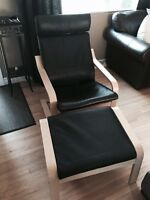 Poang arm chair black leather with birch veneer