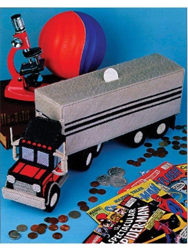 Plastic Canvas Pattern Leaflet 18 WHEELER Semi TRUCK BANK or Toy