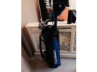 Donnay golfing bag and nine golf clubs