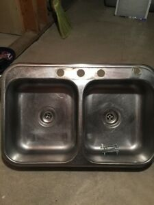 Kitchen sinks - double bowl - drop-in -stainless  - 2 available.