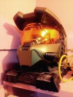 Halo helmet and statue
