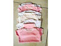 Girls short sleeved vests - aged 9-12 months