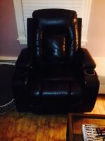 Faux leather electric recliner