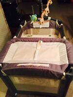 2 stage travel cot with changing area