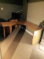 Solid desk and cabinet