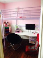 Purple double IKEA Loft bunk bed with desk.