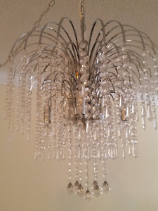 Chrome chandelier and matching lamps