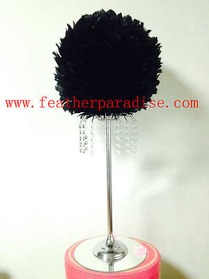 Centerpiece Feather Ball Large Wedding Ball Pompoms Kissing Ball 14 inch Black (Feather Ball Centerpieces)