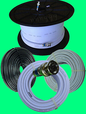 RG6 T BNC CCTV CAMERA Video Cable 100-300 Ft 75OHM HD Black or White Black Rg6 Video Cable