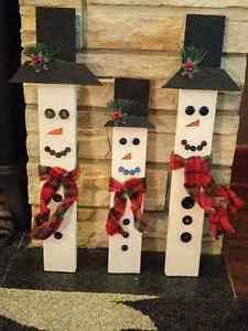 Handmade wood snowmen Edmonton Edmonton Area image 1