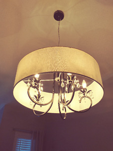Chandelier w/ Shade & lights cream off white shade, dark pewter