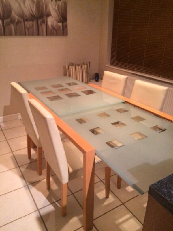 Beautiful Ligne Roset Extensia Dining table & 4 Cream Leather Chairs ...