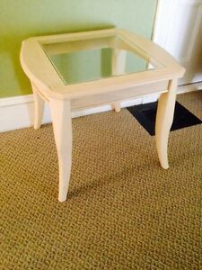 "Shabby Chic Glass Top Side Table. 26"" x 24"". 22"" H"