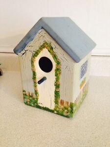 Tole Painted Ceramic Bird House