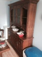 Antique hutch table and chairs