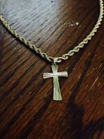 10k gold rope chain with cross