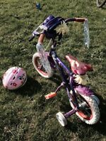 """Girls 12"""" Tinkerbell Bike in great condition with Helmet"""