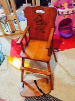 Antique solid wood high chair