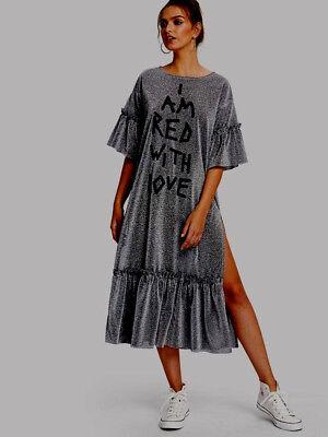 Silver Glitter Lurex Ruffle Puff Sleeves Maxi Midi Kaftan Party Dress 16/18/20