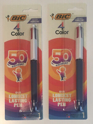 Quantity 2 Bic 50th Birthday 4 Color Pen Black Blue Red Purple Made In France