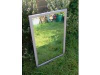 Large grey framed mirror