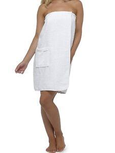 AWL Spa Days Womans Egyptian Cotton White Terry Towelling Cotton Sarong / Wrap