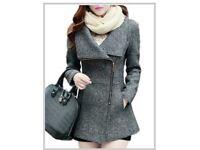 BN Winter Grey zipped Coat/Jacket really warm! Size S 6 8 10 still packaged.