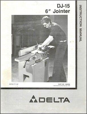 Delta Dj-15 6 Jointer Instructions Manual Parts List Pdf