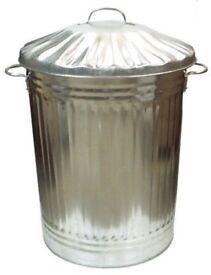 90 Litre Galvanised Metal Bin Rubbish Dustbin