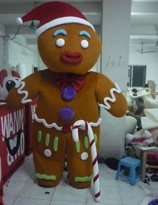 Unique Adult Costumes (Christmas Adult Gingerbread Man Mascot Costume Cosplay Unique Adult Size)
