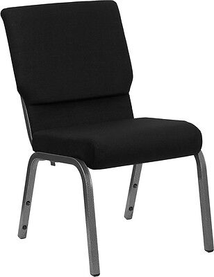Lot Of 50 18.5w Black Fabric Stacking Church Chair - Silver Vein Frame