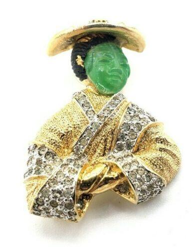 Signed Rare Vtg Nettie Rosenstein Goldtone Costume Asian Man Brooch Pin