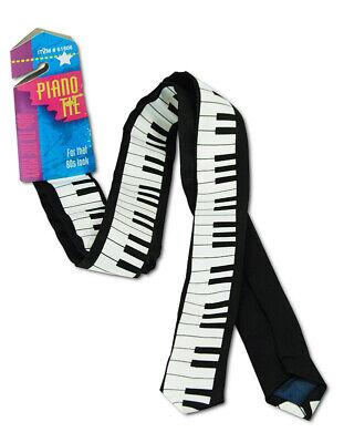 Black & White Piano Tie Keyboard Men Necktie Classic Slim Skinny 80s Costume Tie