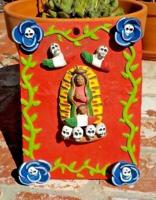 DAY OF THE DEAD VIRGIN OF GUADALUPE RED CLAY WALL HANGING MEXICO FREE SHIPPING