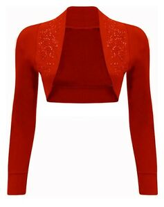 NEW LADIES SEQUIN CROPPED  BOLERO SHRUGS WOMENS TOP LONG SLEEVE SIZE 16-26