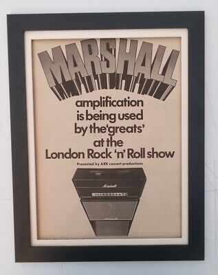 MARSHALL AMPS*Rock London*1972*RARE*ORIGINAL*POSTER*AD*FRAMED*FAST WORLD SHIP