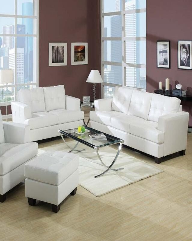 Living Room Platinum White Bonded Leather 2pc Sofa Set Plush Sofa Couch Loveseat