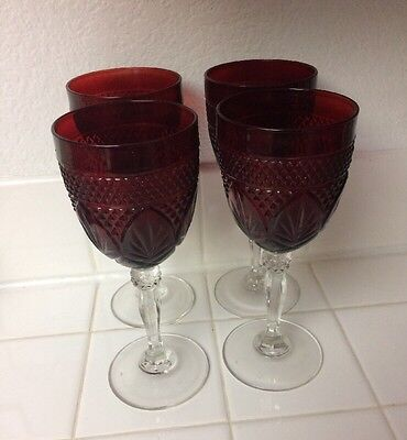 """Set of 4 Arcoroc Ruby Red Cris D' Argues Luminarc Wine/Water Goblets France 8"""""""