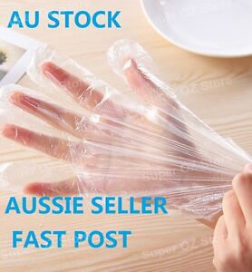 100x Disposable Gloves PE Plastic Clear Glove Cleaning Food Salon Spray Tanning
